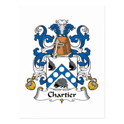 Escudo de la familia de Chartier Tarjeta Postal