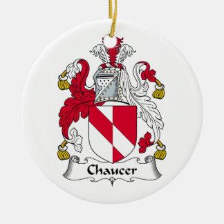 Escudo de la familia de Chaucer Adorno Redondo De Cerámica