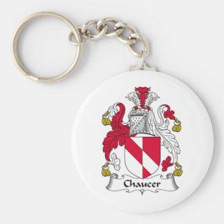 Escudo de la familia de Chaucer Llavero Redondo Tipo Pin