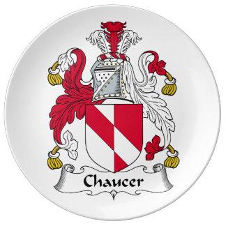 Escudo de la familia de Chaucer Platos De Cerámica