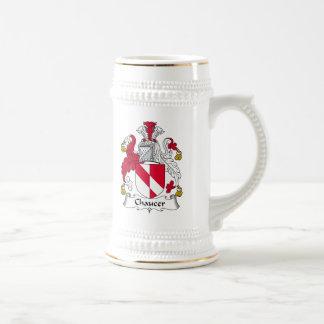 Escudo de la familia de Chaucer Jarra De Cerveza
