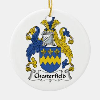 Escudo de la familia de Chesterfield Adorno Navideño Redondo De Cerámica