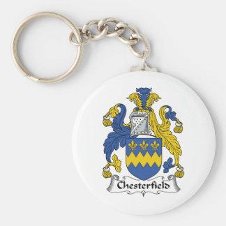 Escudo de la familia de Chesterfield Llavero Redondo Tipo Pin