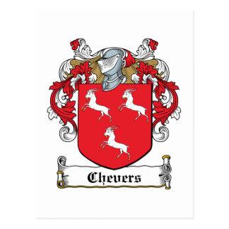 Escudo de la familia de Chevers Tarjeta Postal