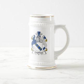 Escudo de la familia de Clapman Jarra De Cerveza