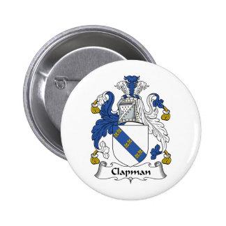 Escudo de la familia de Clapman Pin Redondo 5 Cm
