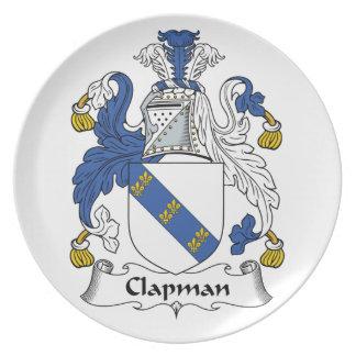Escudo de la familia de Clapman Plato Para Fiesta