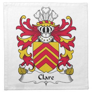 Escudo de la familia de Clare Servilletas Imprimidas
