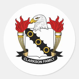 Escudo de la familia de Clarkson Etiquetas Redondas