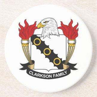 Escudo de la familia de Clarkson Posavasos Cerveza