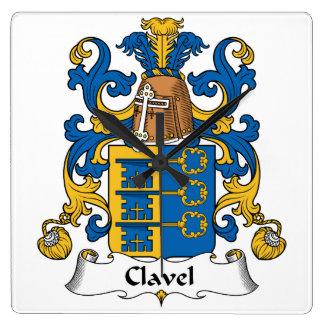 Escudo de la familia de Clavel Reloj Cuadrado