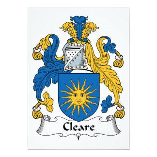 """Escudo de la familia de Cleare Invitación 5"""" X 7"""""""