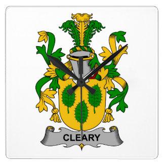 Escudo de la familia de Cleary Reloj Cuadrado
