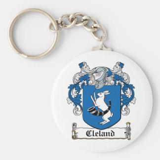 Escudo de la familia de Cleland Llavero Redondo Tipo Pin