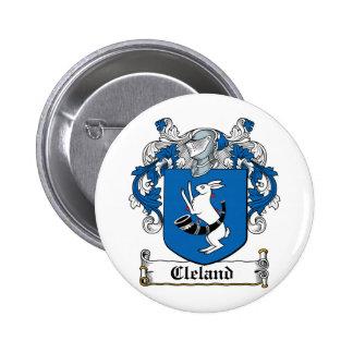 Escudo de la familia de Cleland Pin Redondo 5 Cm