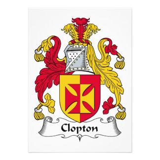 Escudo de la familia de Clopton Invitaciones Personalizada