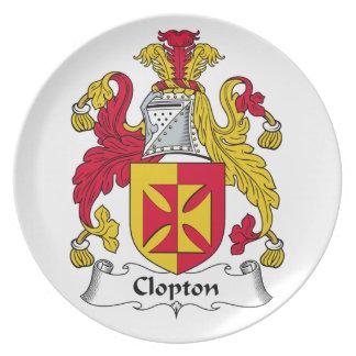 Escudo de la familia de Clopton Plato Para Fiesta