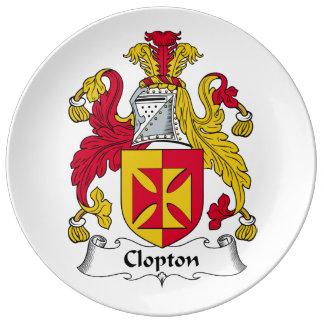 Escudo de la familia de Clopton Platos De Cerámica