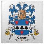 Escudo de la familia de Coeur Servilletas