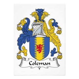 Escudo de la familia de Coleman Comunicados Personalizados