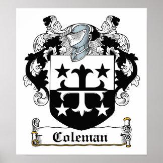 Escudo de la familia de Coleman Póster