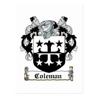 Escudo de la familia de Coleman Tarjeta Postal