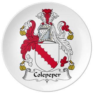 Escudo de la familia de Colepeper Platos De Cerámica