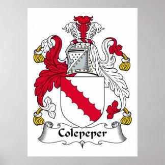 Escudo de la familia de Colepeper Posters