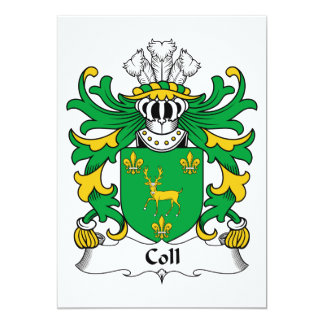 """Escudo de la familia de Coll Invitación 5"""" X 7"""""""