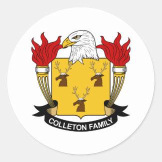 Escudo de la familia de Colleton Pegatina Redonda