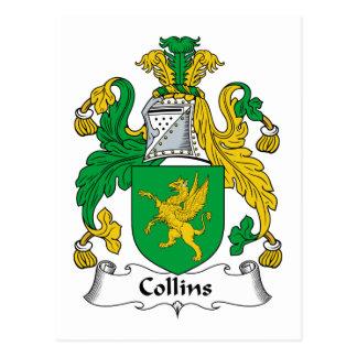 Escudo de la familia de Collins Tarjeta Postal