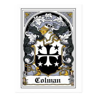 Escudo de la familia de Colman Tarjeta Postal