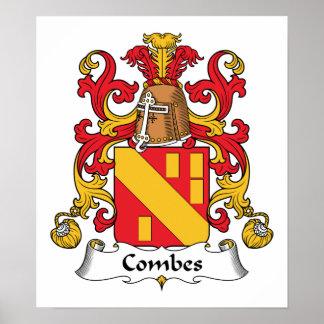 Escudo de la familia de Combes Posters