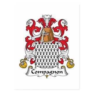 Escudo de la familia de Compagnon Tarjeta Postal