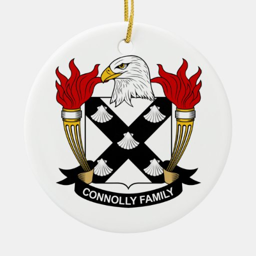 Escudo de la familia de Connolly Adorno Navideño Redondo De Cerámica