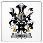 Escudo de la familia de Conolly Reloj De Pared