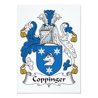 Escudo de la familia de Coppinger Invitación 12,7 X 17,8 Cm