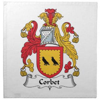 Escudo de la familia de Corbet Servilleta