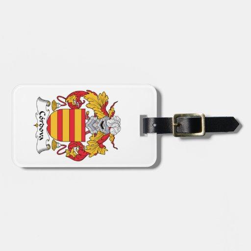 Escudo de la familia de Cordova Etiqueta De Equipaje
