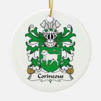 Escudo de la familia de Corineous Adorno Navideño Redondo De Cerámica