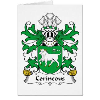 Escudo de la familia de Corineous Tarjeta De Felicitación
