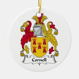 Escudo de la familia de Cornell Adorno Navideño Redondo De Cerámica
