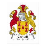 Escudo de la familia de Cornell Tarjeta Postal