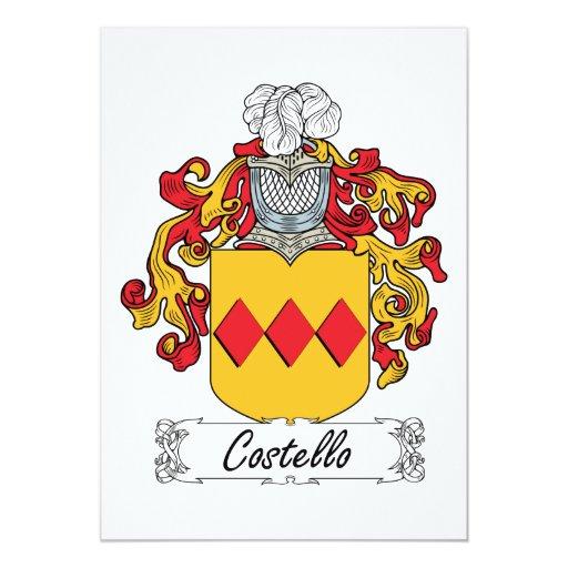Escudo de la familia de Costello Invitación 12,7 X 17,8 Cm