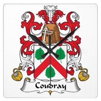 Escudo de la familia de Coudray Reloj Cuadrado