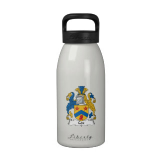 Escudo de la familia de cox botella de agua