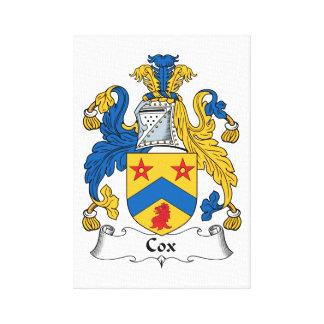 Escudo de la familia de cox lienzo envuelto para galerías