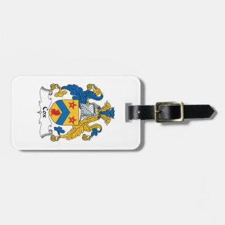 Escudo de la familia de cox etiqueta para equipaje