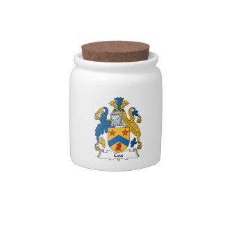 Escudo de la familia de cox jarra para caramelo
