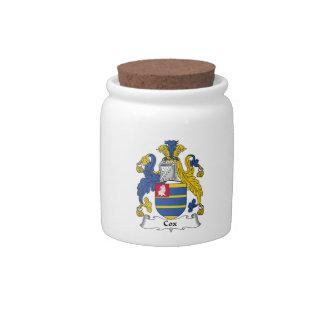Escudo de la familia de $cox platos para caramelos